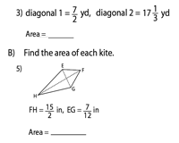 Area of a kite | Fractions