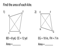 Area of Kites Worksheets