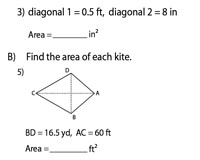Area of a Kite | Unit Conversions