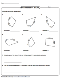 Perimeter of kites | Decimals
