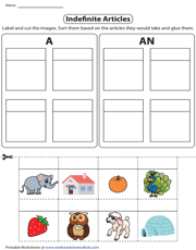 Indefinite Articles | Sorting Nouns