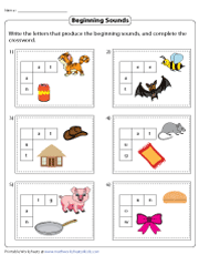 Beginning Sounds Crosswords