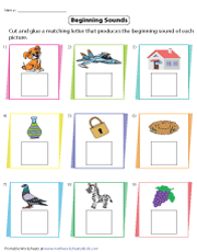 Beginning Sounds | Cut and Glue Fun