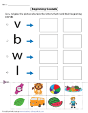 Beginning Sounds | Cut and Glue