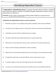 Identifying Dependent Clauses