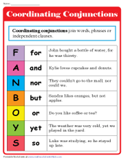 Coordinating Conjunctions Chart | FANBOYS