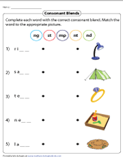 Writing Consonant Blends and Matching