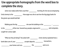 Complete the Passage with Homographs