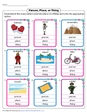 Identifying Nouns as People, Places, or Things