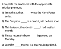 Complete the sentences with Relative Pronouns