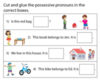 Possessive Pronouns | Cut and Paste