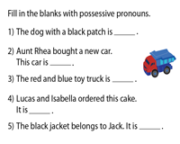 Fill in the blanks with Possessive Pronouns