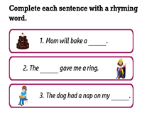 Complete sentences with Rhyming Words