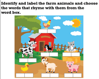 Farm themed Rhyming Words