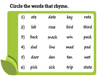 Identify the Rhyming Words
