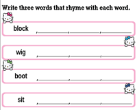 Write the Three Rhyming Words