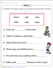 Completing Sentences with Silent E Words