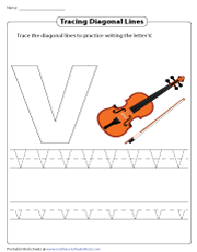 Tracing Diagonal Lines to Write the Letter V