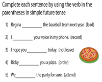 Complete the sentences using Simple Future Tense