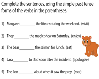 Complete the sentences using Simple Past Tense