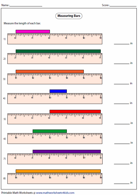 Printables Ruler Measurements Worksheets measuring length worksheets of the bar