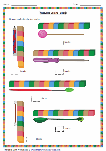 Worksheets Measuring Lenght Worksheet measuring length worksheets of the objects with blocks