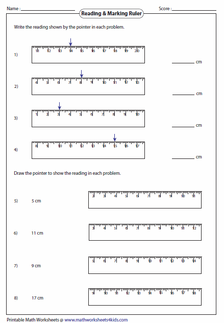 Printables Ruler Measurements Worksheets measuring length worksheets