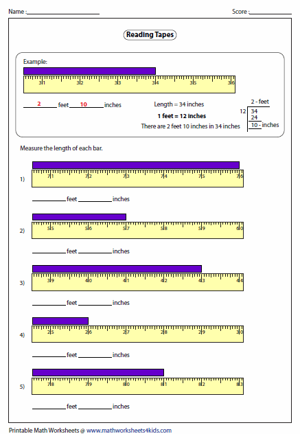Printables Measurement Worksheets Inches measuring length worksheets of the tape feet and inches