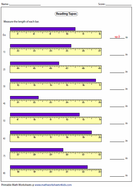 Printables Tape Measure Worksheets measuring length worksheets of the tape