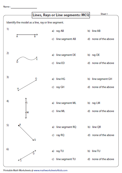 Printables Line Segment Worksheets lines rays and line segments worksheets identify or multiple choice