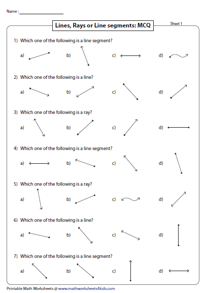 Worksheets Worksheets On Lines Segments And Rays lines rays and line segments worksheets mcq