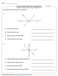 Lines Rays And Line Segments Worksheets