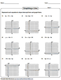 graph using slope and y intercept - Graphing Equations Worksheet
