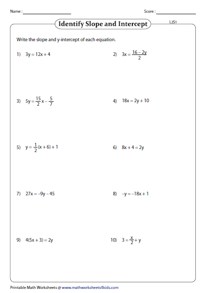 Slope-intercept Form of Equation of a Line Worksheets