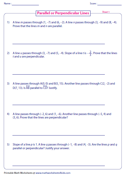 Worksheets Parallel And Perpendicular Lines Worksheet Answer Key parallel perpendicular and intersecting lines worksheets