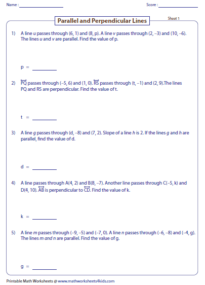 Parallel, Perpendicular and Intersecting Lines Worksheets
