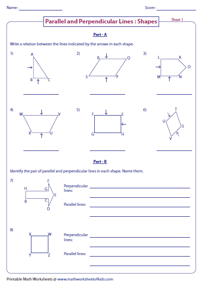 Printables Parallel And Perpendicular Lines Worksheet parallel perpendicular and intersecting lines worksheets identifying lines