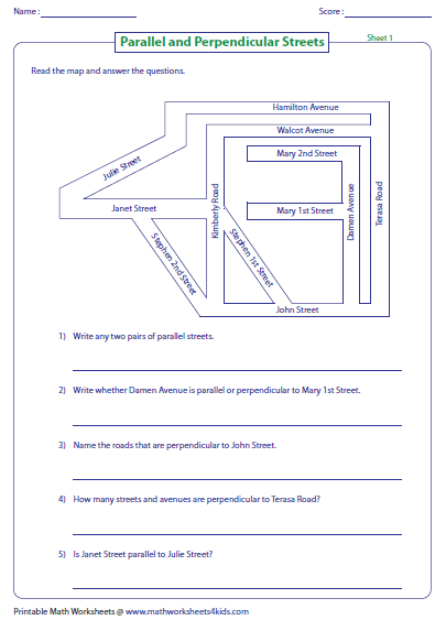 Worksheets Parallel And Perpendicular Lines Worksheet Answer Key parallel perpendicular and intersecting lines worksheets streets