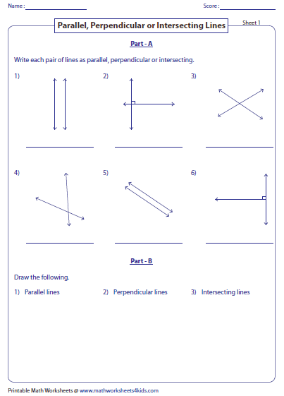 parallel intersecting and perpendicular lines worksheets