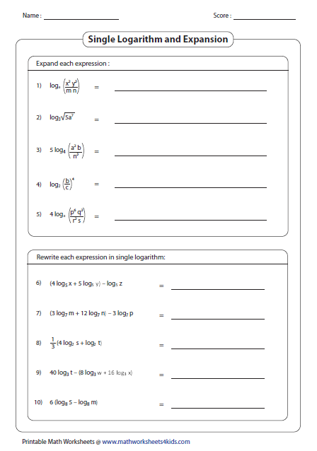Printables Quotient Rule Worksheet logarithms worksheets single logarithm and expansion
