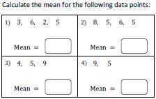 Mean Worksheets: Finding Average
