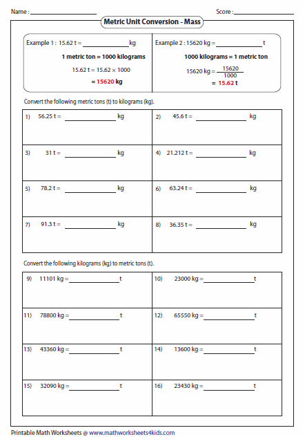 Metric unit conversion worksheets - How to convert liter to kilogram ...