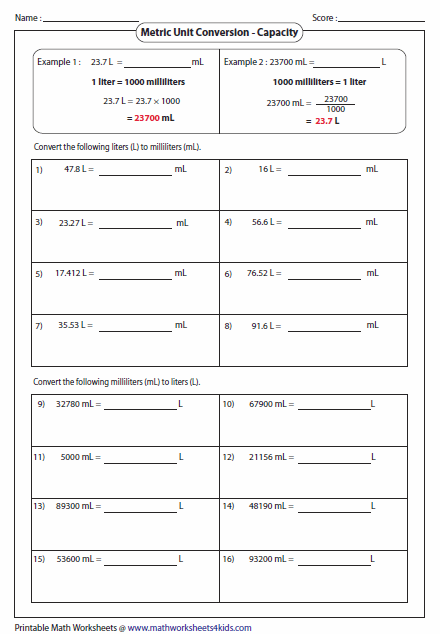 metric unit conversion worksheets