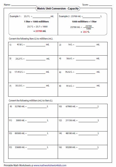 metric unit conversion worksheets. Black Bedroom Furniture Sets. Home Design Ideas
