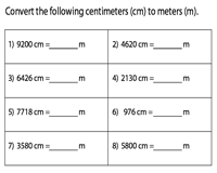 Conversion between Meter and Centimeter | Type 1