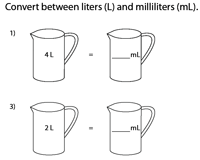 Conversion between Milliliters and Liters | Measuring Jugs