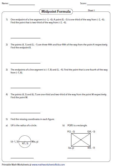 Midpoint and distance formula worksheet kuta