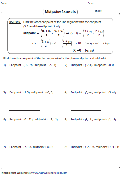 Midpoint Worksheet. Lesupercoin Printables Worksheets