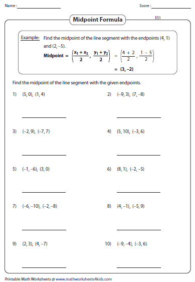Midpoint Formula Worksheets