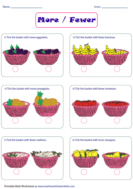 math worksheet : more or less worksheets : Math Worksheets 4 Kids